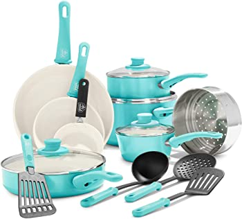 GreenLife Turquoise Ceramic Cookware Set