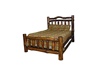 Amazon.com: Rustic Pine Log Double Top Rail Bed - QUEEN SIZE - Amish ...