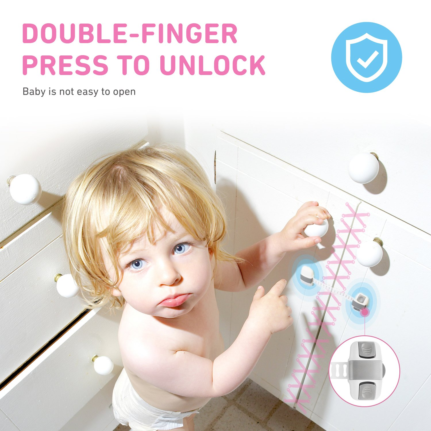 Drawers |Child Proof Safety Lock with Double-Finger Press Design and Adjustable Strap |Latches to Baby Proofing Cabinets Toilet Seat and Fridge 6 Pack Child Safety Cabinet Locks
