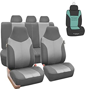 FH Group FB101115 Supreme Twill Fabric High-Back Full Set Car Seat Covers, Airbag and Split Ready, Light/Dark Gray Color- Universal Car, Truck, SUV, or Van