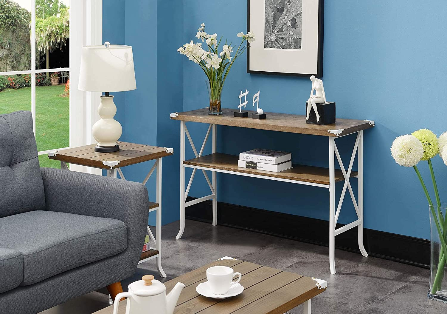 Convenience Concepts Brookline Console Table, Driftwood / White