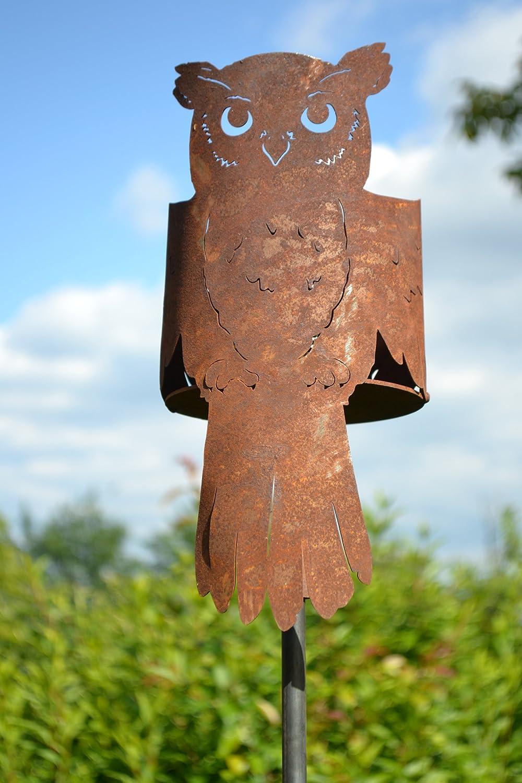Feuertopf stabil- mit Brenngel-moderner Gartenstecker mit Feuerkorb Eule - Hö he ca. 125 cm - hochwertiger Gartenstecker-Feuertopf, Feuertü te, stabile Ausfü hrung, Metall mit Edelrost, frostsicher sar