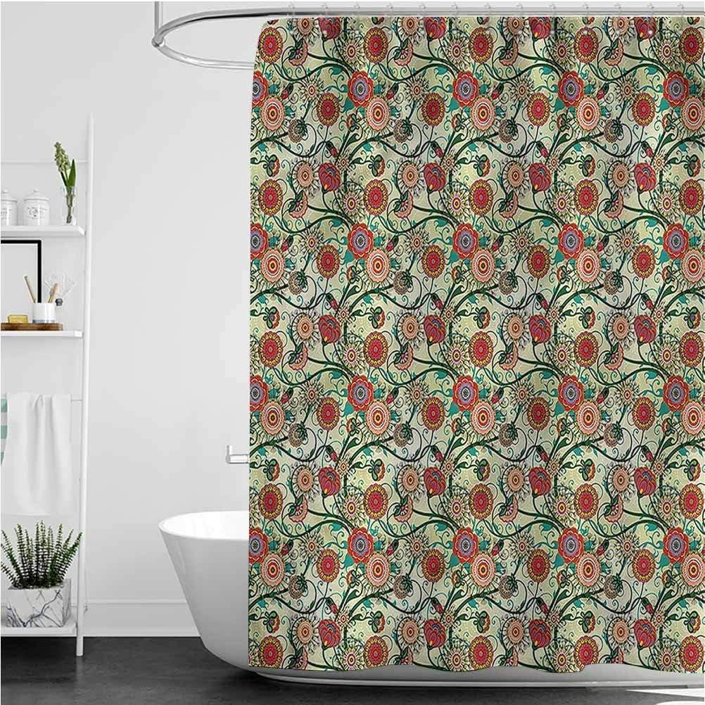 Interestlee Jacobean Modern Shower Curtain Floral Curl Motifs Modern Home Bathroom Decor, 72 x 78 Inch