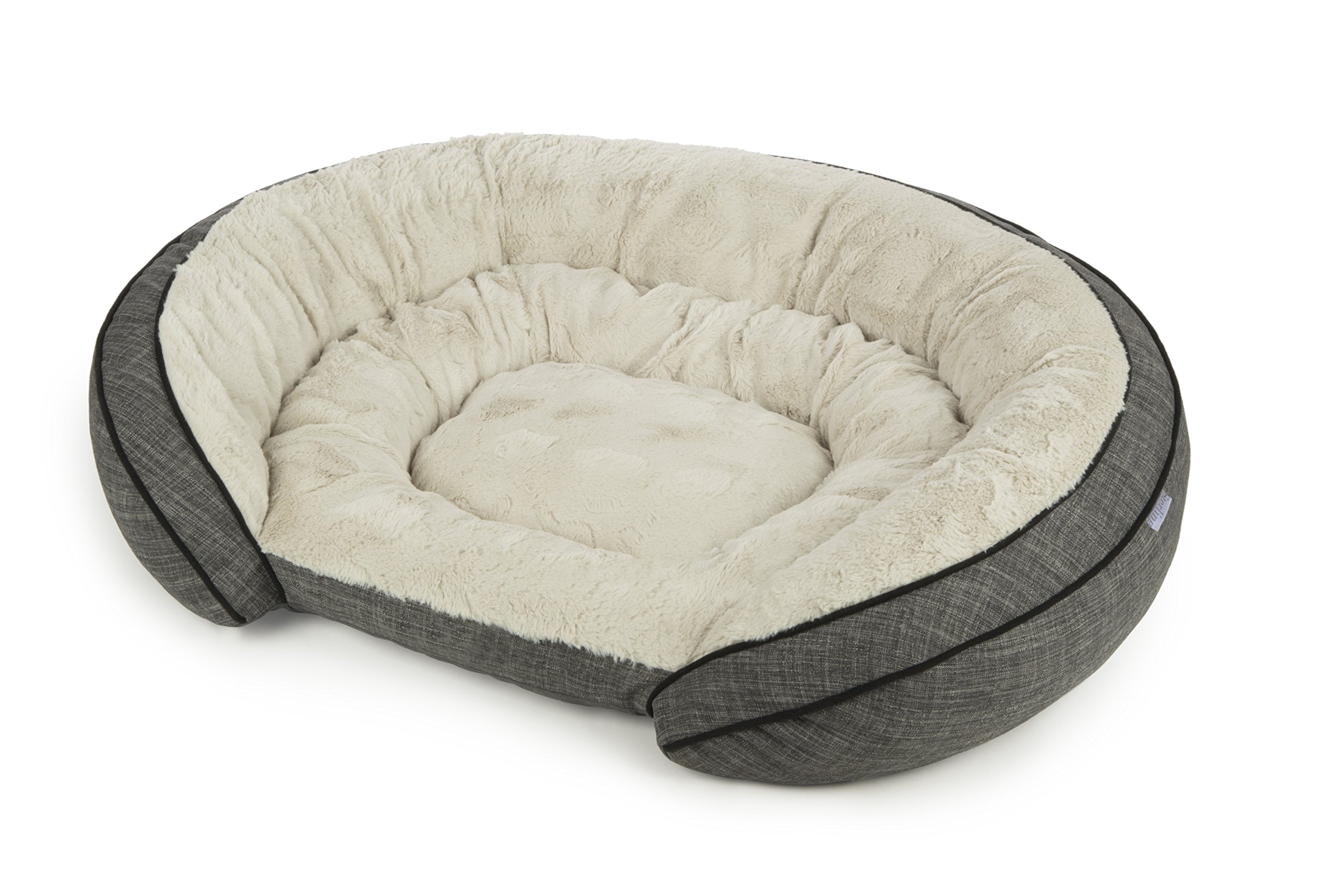 Sterling Premium Cooling Gel Memory Foam Pet Bed, Plush with Woven Linen, Gray