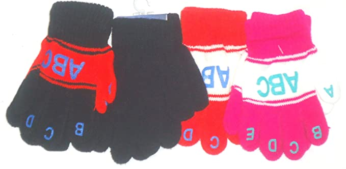 Accessories Set of Four Pairs of One Size Magic Gloves for Infants Ages 1-3 Years