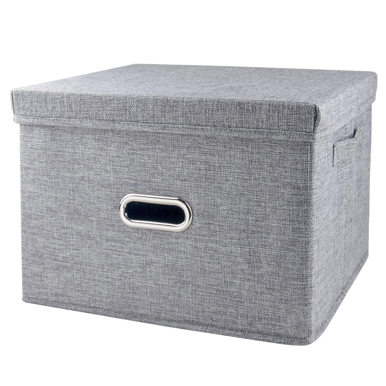 5a9125379b38 iLoft Storage Cube with Lid, Fabric Basket Bin with Dual Handles,  Decorative Linen Storage Container Clothes Basket for Closet, Shelves, 15