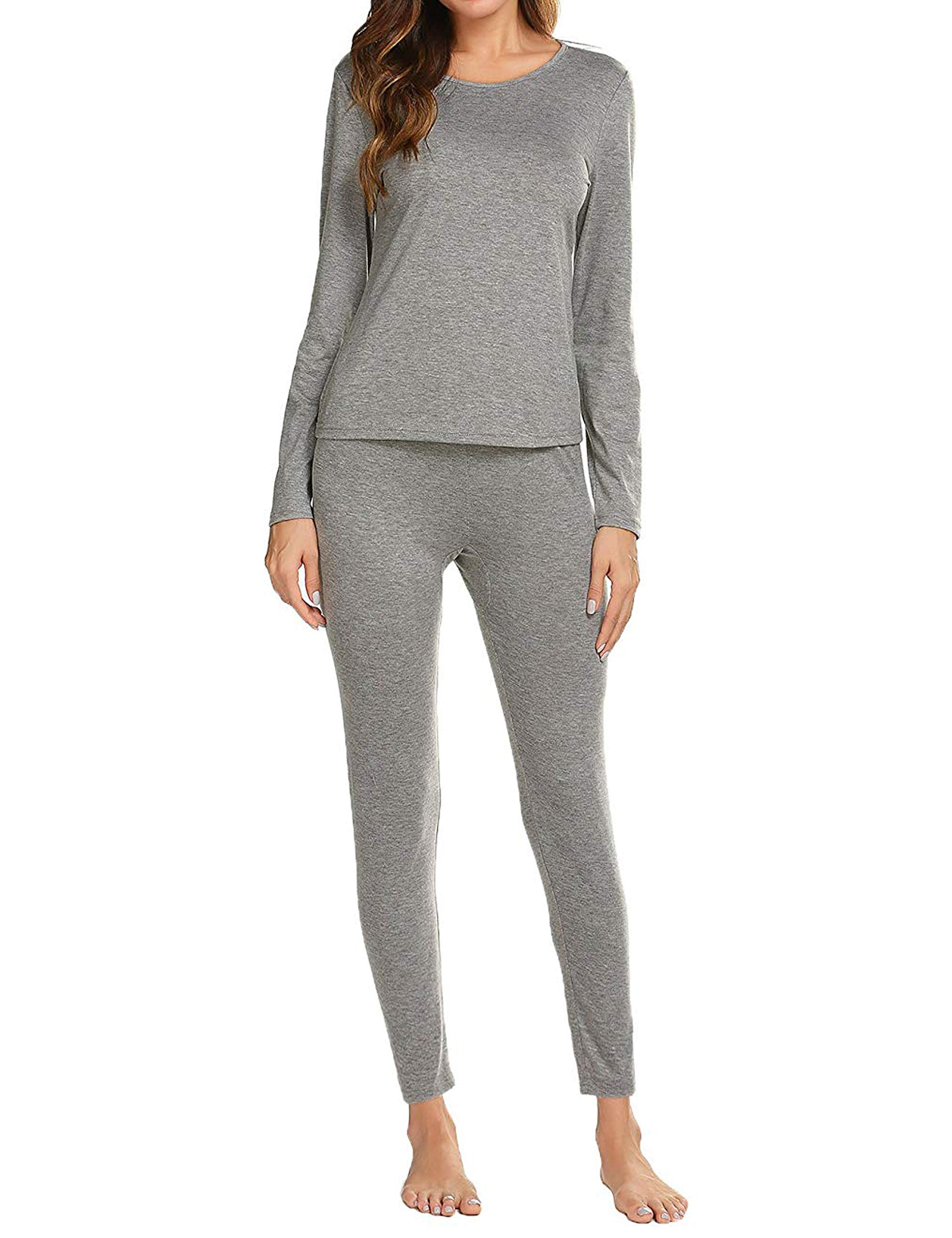 Aifer Thermal Underwear Long John Set Slimming Top & Bottom Pajama for Women