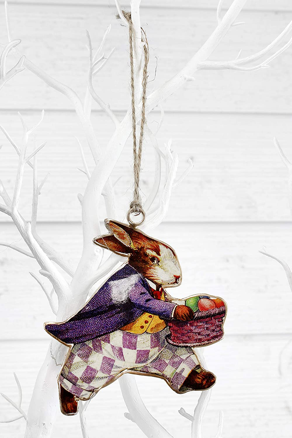 AuldHome Vintage Easter Bunny Decorations Set of 6 ; Classic Rabbit and Egg Themed Retro Easter Ornaments