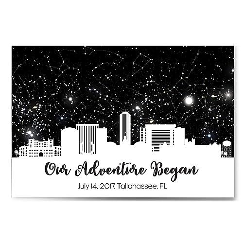 Custom Personalized Skyline Star Constellation Map Chart Birthday Wedding Engagement Anniversary Baby Present Night Sky Poster