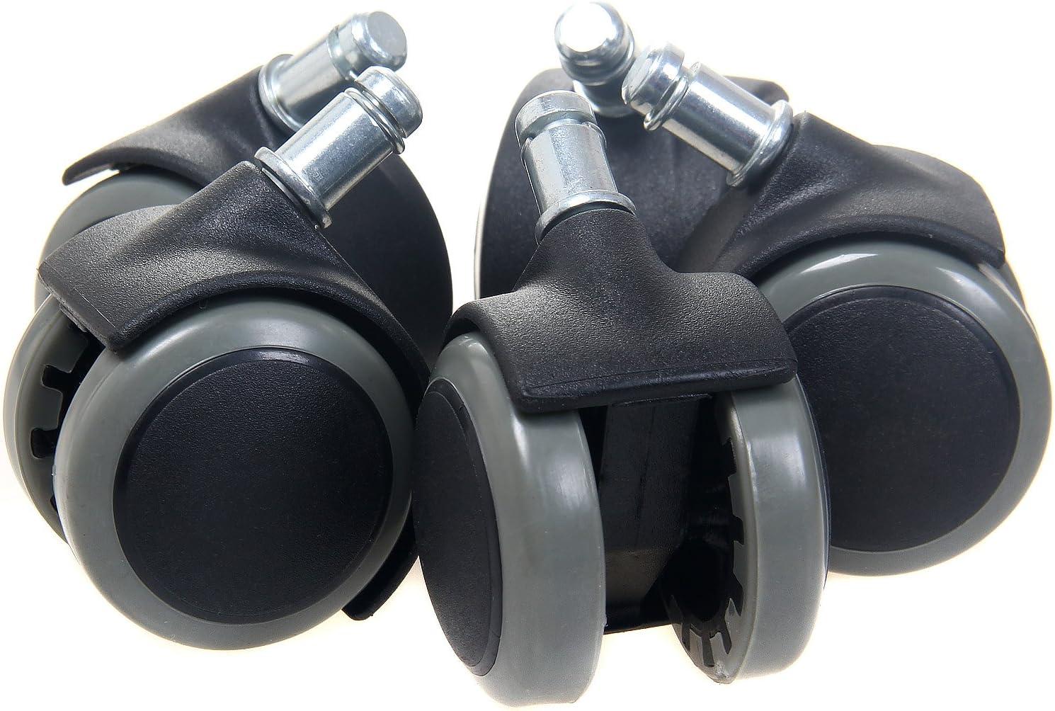 TUKA 5X Harbodenrollen, 11 mm, Juego Universal de Ruedas para Suelos Duros, 5 Piezas, Ruedas para sillas de Oficina, Giratoria para Sillas de Oficina Piezas de Recambio. Gris, TKD-3200 Grey