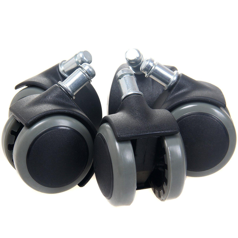 TUKA 5X Juego Universal de Ruedas para Suelos Duros, con Freno de Seguridad Externa. 5 Piezas, Ruedas para sillas de Oficina, Giratoria Piezas de Recambio.