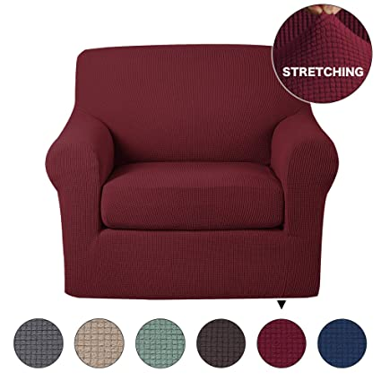Stretch Chair Slipcover 2 Pieces Furniture Cover/Protector With Spandex  Jacquard Checked Pattern, Spandex