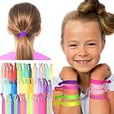 HAARGUMMIS FÜR MÄDCHEN / GESCHENKE FÜR MÄDCHEN : 50 farbige, elastische Haargummis, Zopfgummis, Haaraccessoires für Mädchen in tollen Farben und Mustern. Idealer Haarschmuck für Mädchen