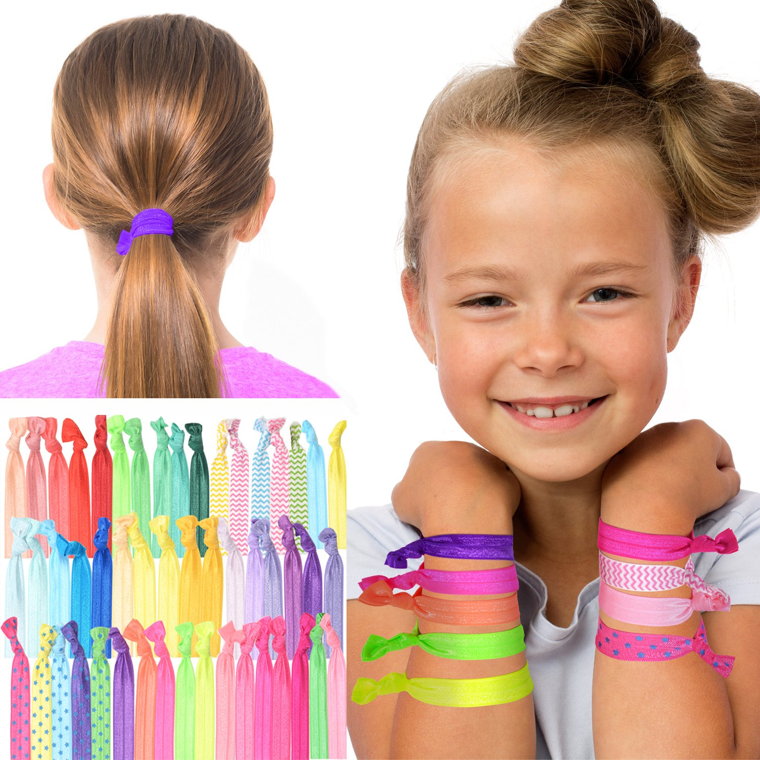 GirlZone GIFTS FOR GIRLS: Colorful No Crease Hair Ties, Huge Pack Of Fun Hair Accessories For Girls - Best Birthday Gifts Present Idea For Girls Age 3 4 5 6 7 8 9 10 11 12 years old.