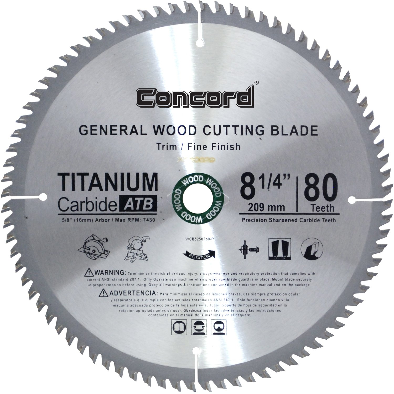 Concord Blades Wcb0825t080hp 8 1 4 Inch 80 Teeth Tct General Purpose Hard Soft Wood Saw Blade Diamond Com
