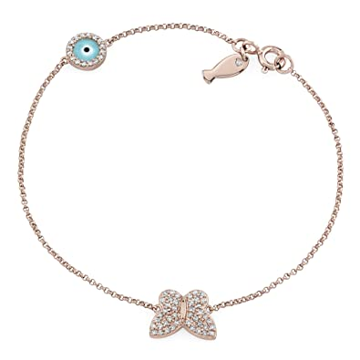 Amazoncom Victoria Kay 14k Rose Gold Diamond Butterfly Evil Eye