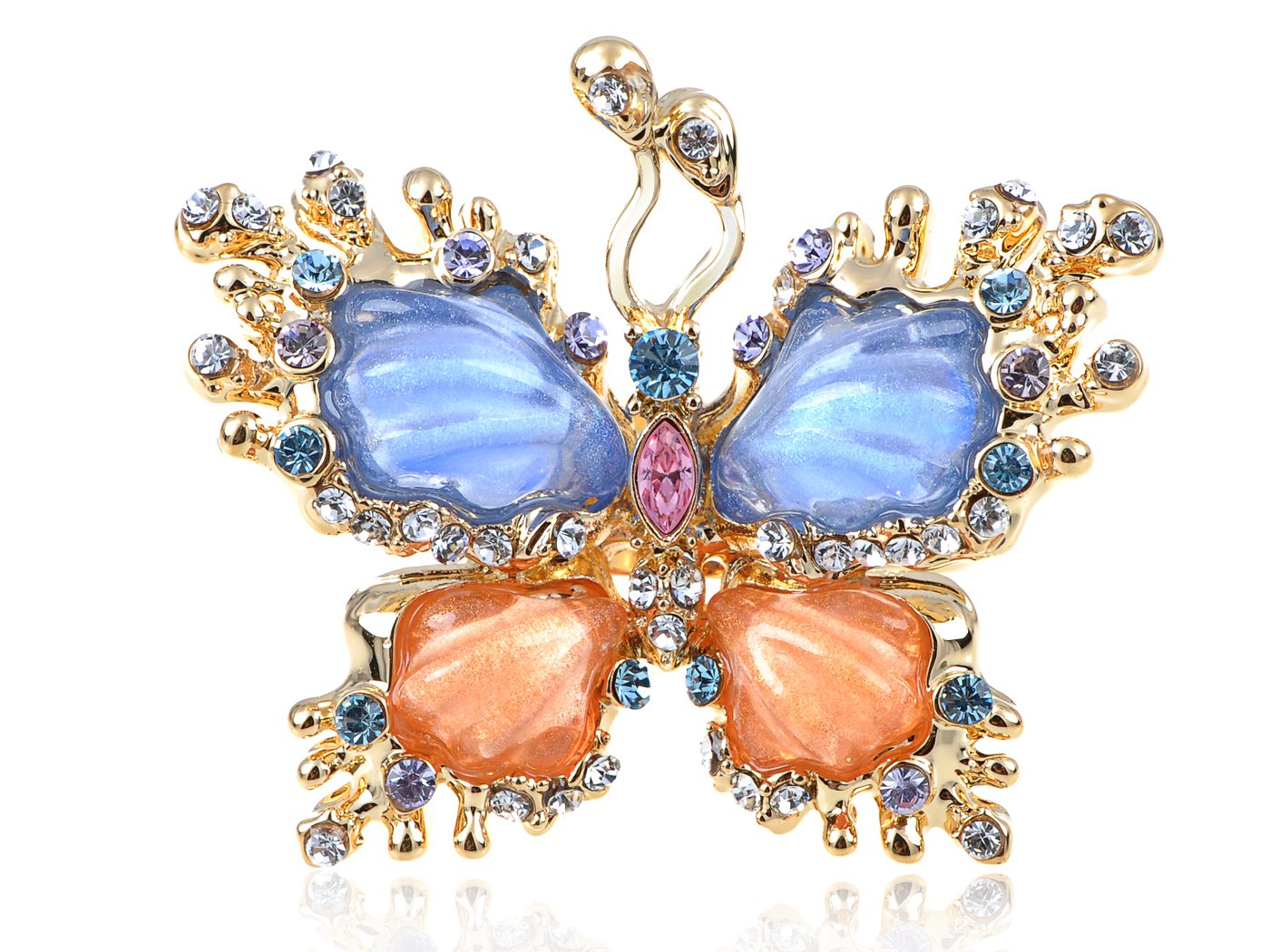 Alilang Womens Adjustable Golden Tone Multicolored Rhinestones Pearlescent Butterfly Ring