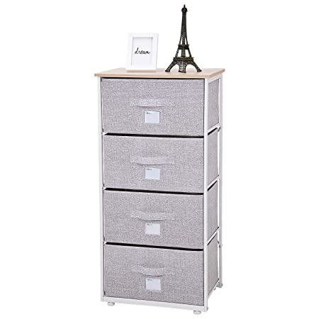 Ollieroo Fabric 4-Drawer Storage Organizer Dresser Home Organizer Bedside Table End Tables – Linen