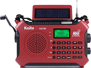 Kaito KA700 Bluetooth Emergency Hand Crank Dynamo & Solar Powered AM FM Weather NOAA Band Radio with Recorder and MP3 Player & More