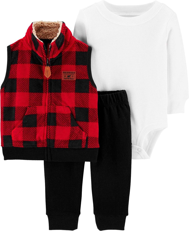 Carters Baby Boys 3 Piece Plaid Patch Little Vest Set