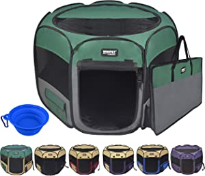 Winipet 2-Door Folding Soft Pet Playpen (2 Year Warranty), Plus Carrying Bag and Food Grade Silicone Bowl, 10-Size and 12-Color Portable Dog Cat Playpen, Exercise Pen, Indoor & Outdoor Pet Home