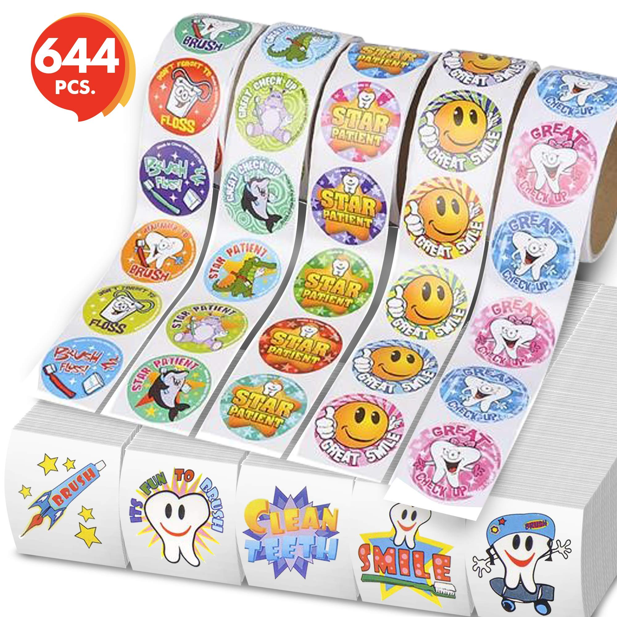ArtCreativity Dental Stickers and Temporary Tattoos Set for Kids by Set Includes 500 Stickers and 144 Temporary Tattoos   Reward Stickers  Great Gift Idea for Boys or Girls, Fun Craft Tools for Kids
