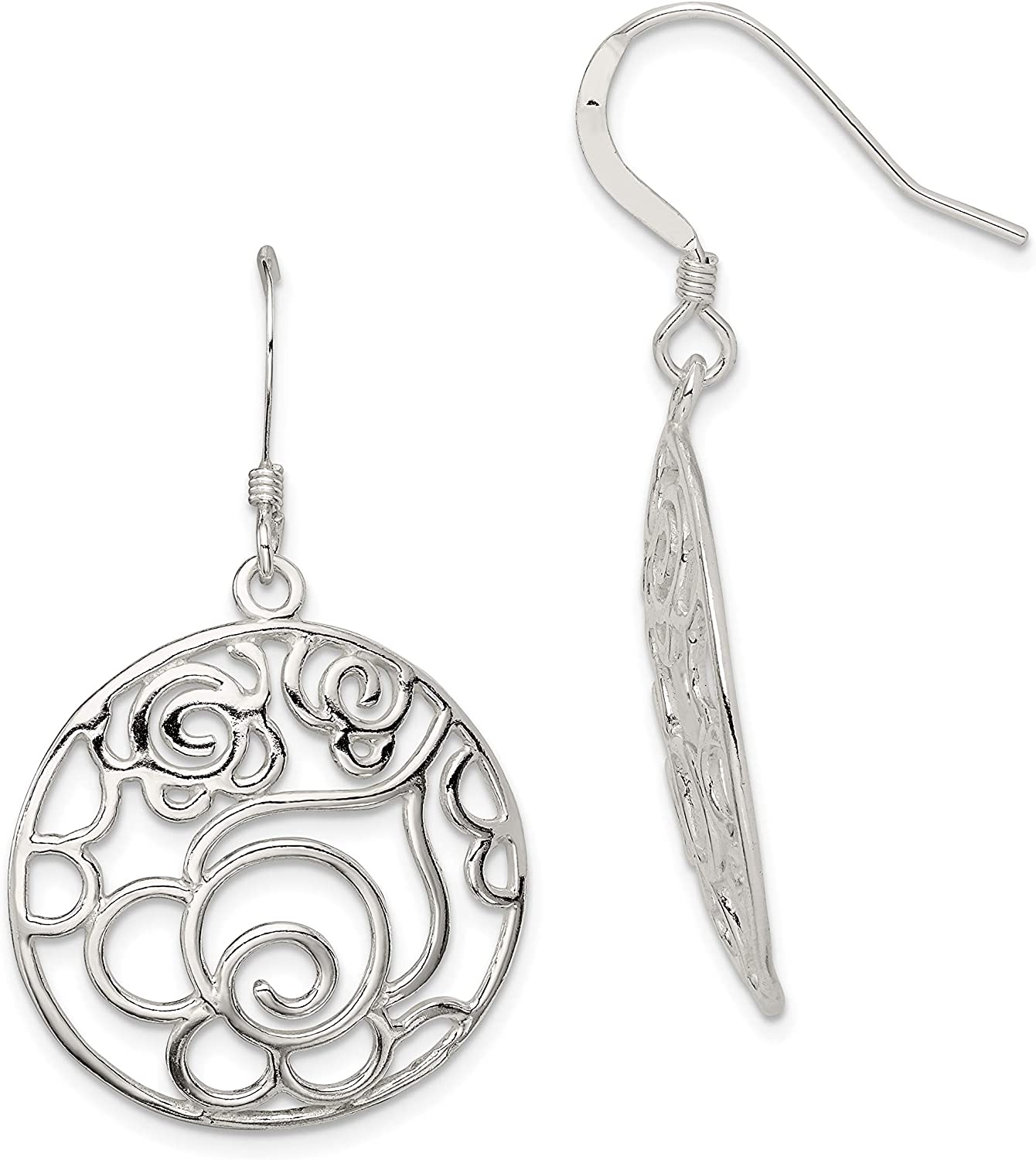 Sterling Silver Polished Round Fancy Dangle Earrings and a pair of 4mm CZ Stud Earrings