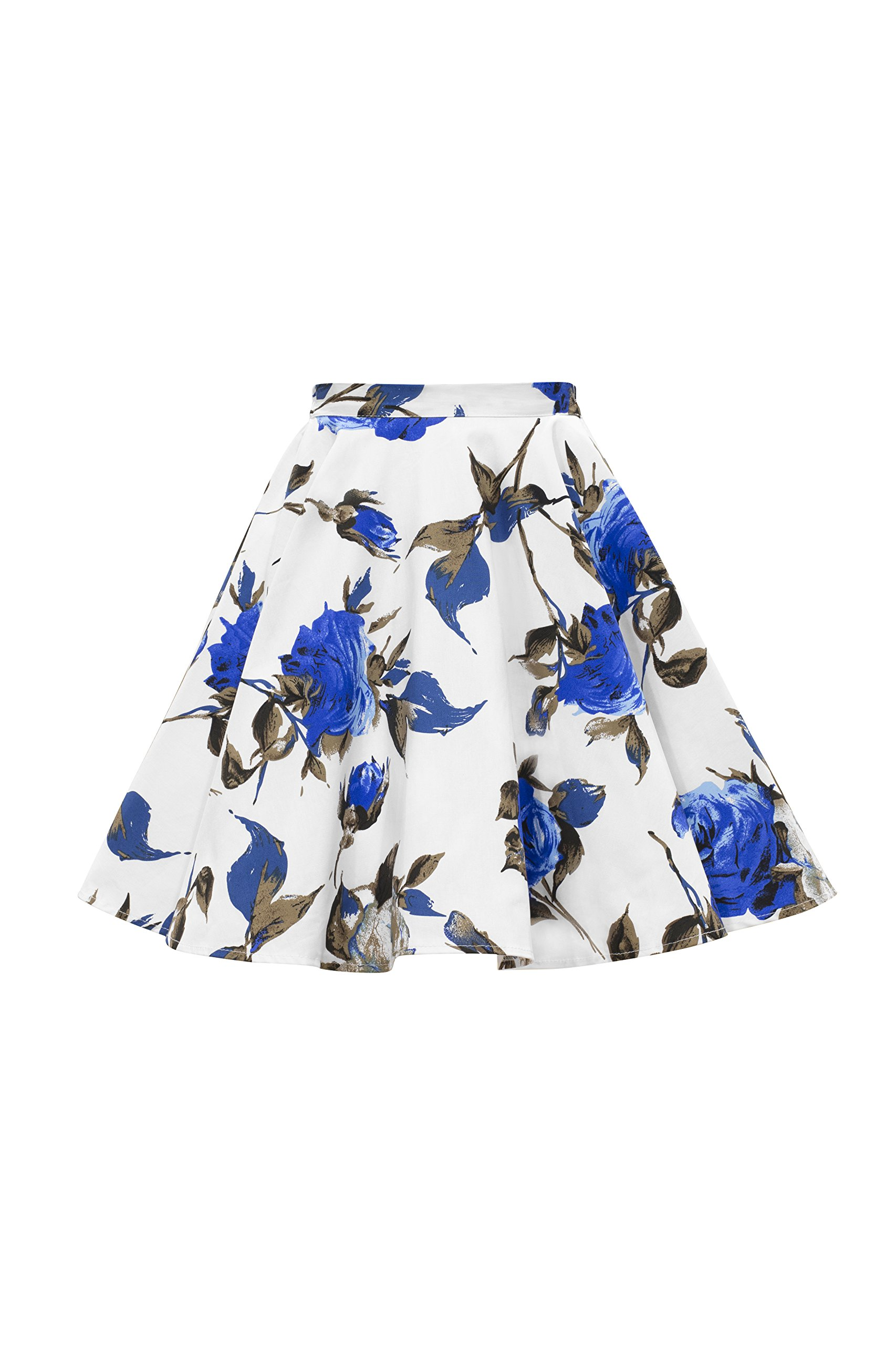BlackButterfly Kids Vintage 50's Full Circle Girls Swing Skirt (Mercy - White Blue, 7-8 yrs)
