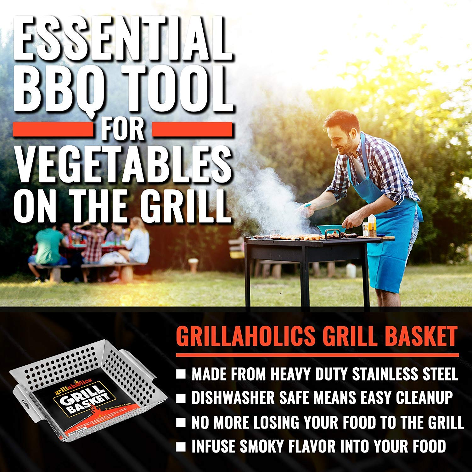 Grillaholics Grill Basket - Large Grilling Basket for More Vegetables - Heavy Duty Stainless Steel Grilling Accessories Built to Last - Perfect Vegetable Grill Basket for All Grills and Veggies by Grillaholics (Image #2)