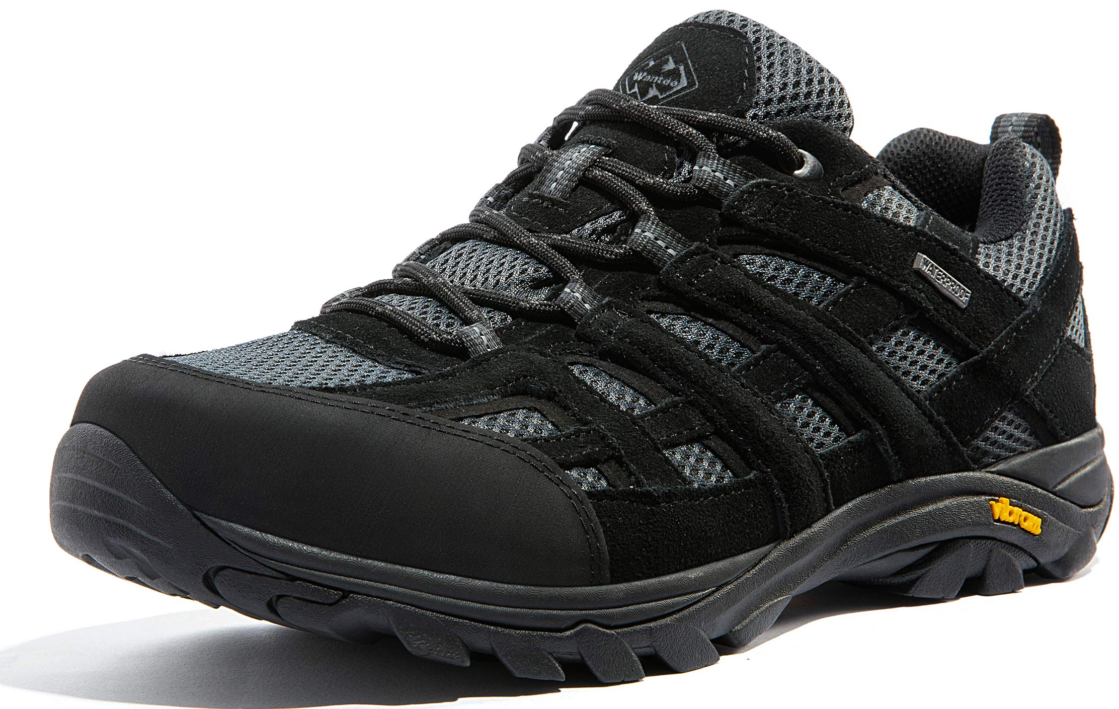 Wantdo Men's Waterproof Hiking Shoes Anti-Slip Shoes for Outdoor Mountain Trainer Hiking Camping 11 M US Black by Wantdo