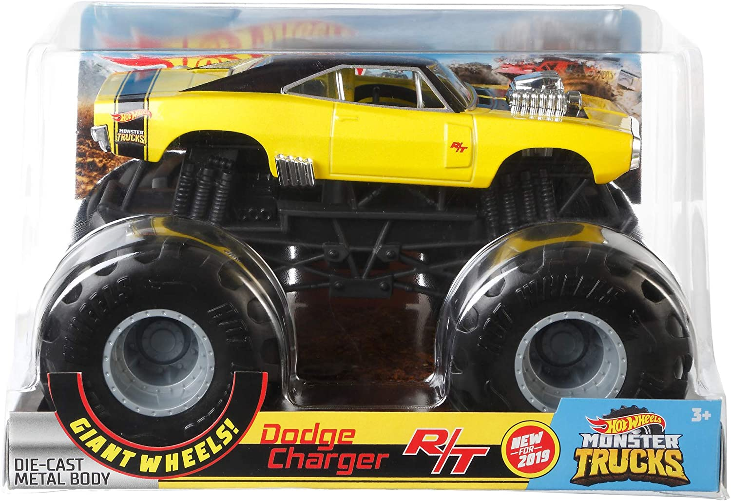 Amazon Com Hot Wheels Monster Trucks Dodge Charger R T Die Cast 1 24 Scale Vehicle With Giant Wheels For Kids Age 3 To 8 Years Old Great Gift Toy Trucks Large Scales Toys Games