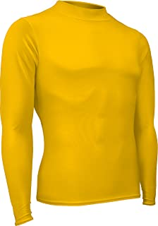 product image for HT-501L-CB Men's and Women's Athletic Form Fit, Long Sleeve Mock Neck Shirt-for Track, Volleyball, Soccer, Football, Underwear, and Outdoor Sports (X-Large, Gold)