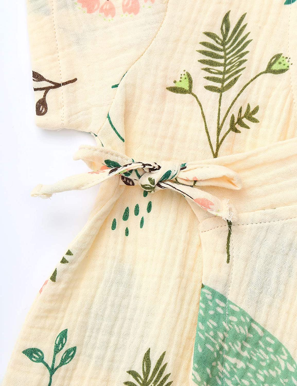YUUMIN Newborn Baby Girls Cotton Yarn Romper Pajamas Japanese Kimono Sleepwear Bodysuit