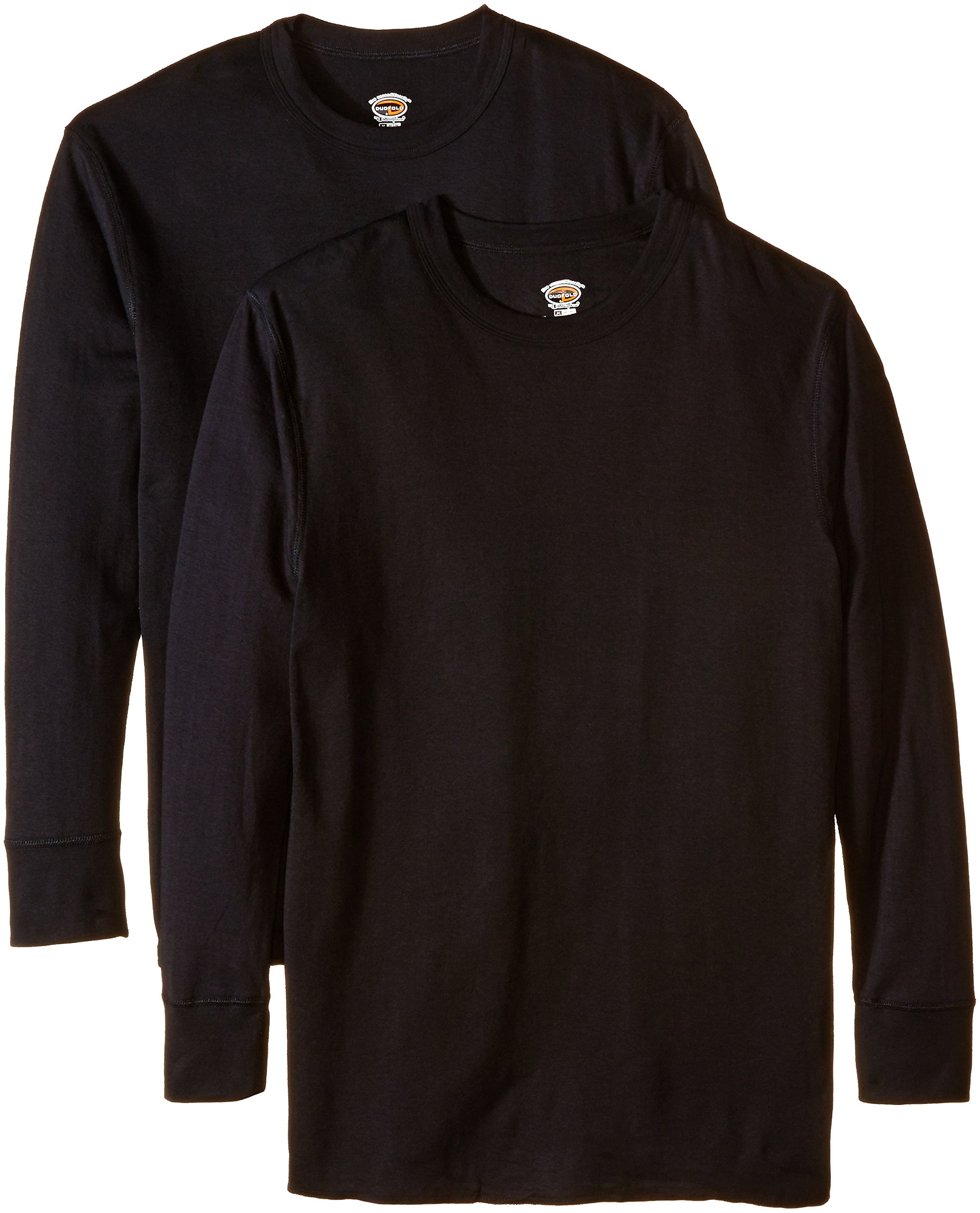 Duofold Men's Mid Weight Wicking Thermal Shirt (Pack of 2), Black, Small