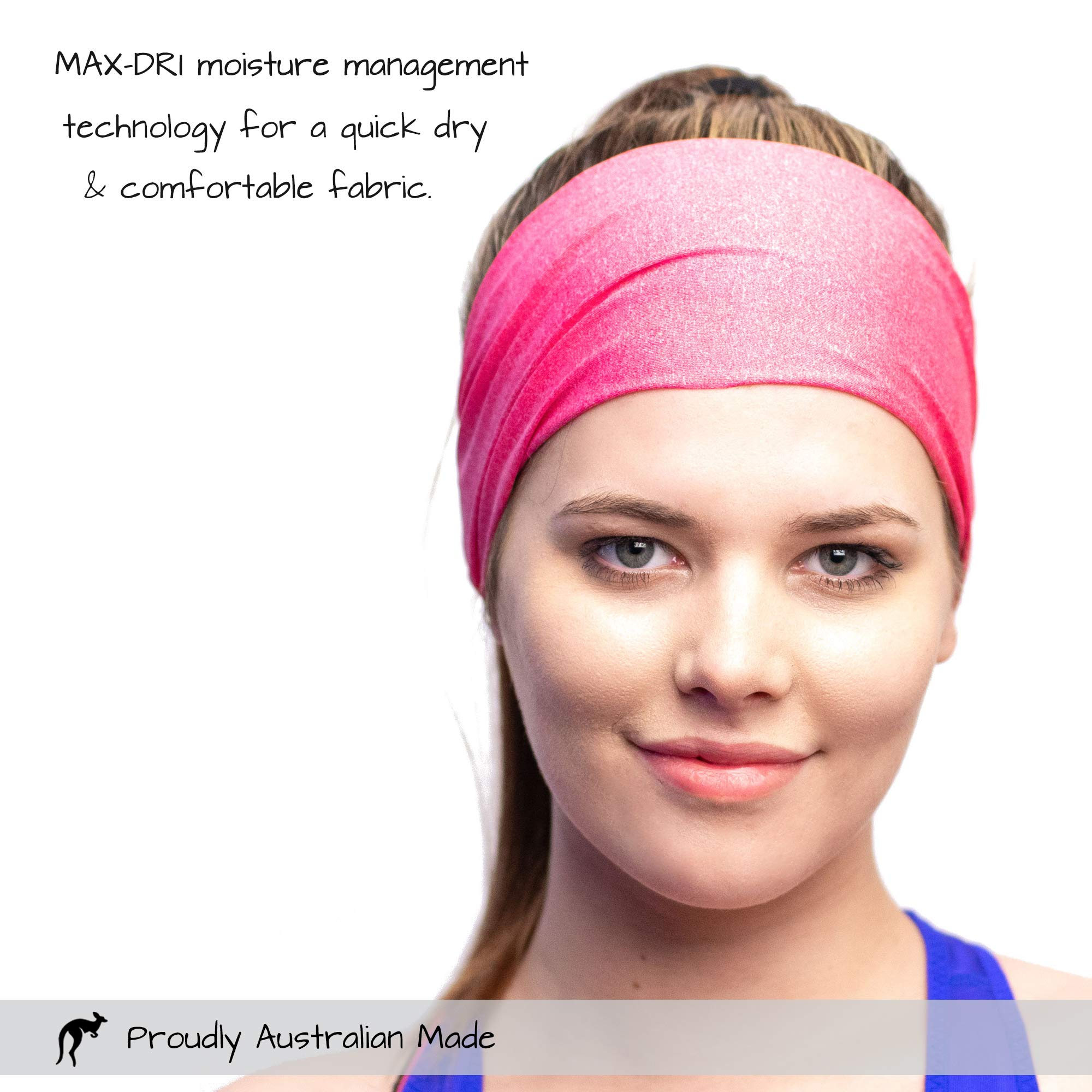 Red Dust Active Running Sweatband - Lightweight, Non-Slip, Wide & Sweat Wicking - Pink Workout Headband Made for Active Lifestyles by Red Dust Active (Image #4)
