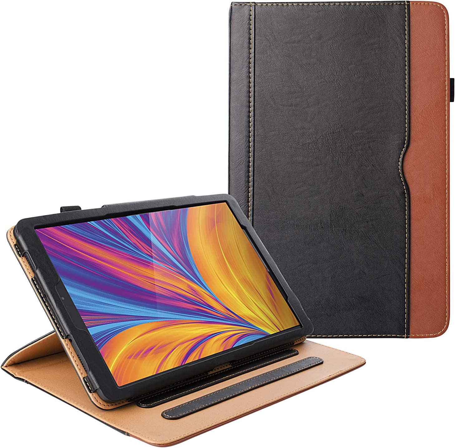 ZoneFoker New Galaxy Tab A 8.0 inch 2019 Tablet Leather Case (SM-T290, SM-T295), 360 Protection Multi-Angle Viewing Folio Stand Cases with Pencil Holder for Samsung SM-T290/SM-T295 Only - Black/Brown