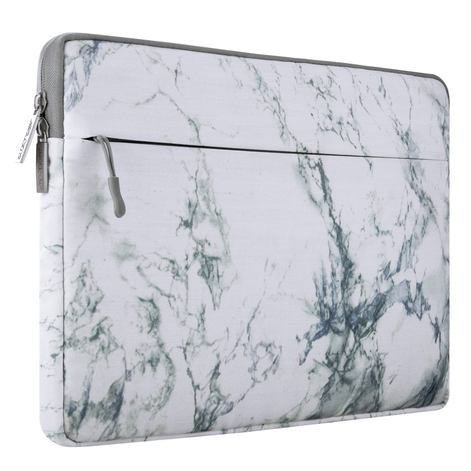 MOSISO Canvas Fabric Laptop Sleeve Case Bag Cover Compatible 13-13.3 Inch MacBook Pro, MacBook Air, Notebook Computer, White Marble Pattern by MOSISO
