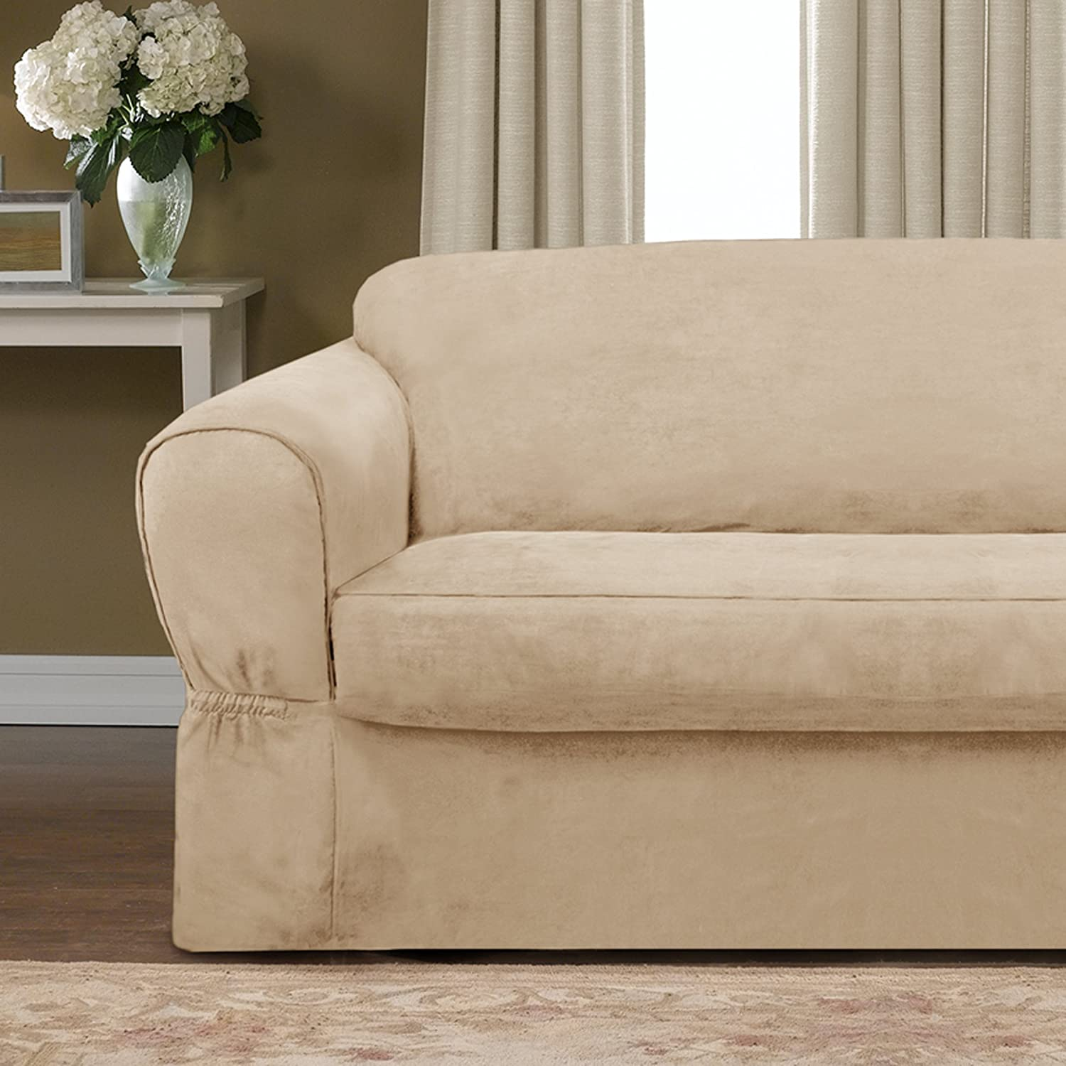 Amazon Maytex Piped Suede 2 Piece Slipcover Loveseat Tan