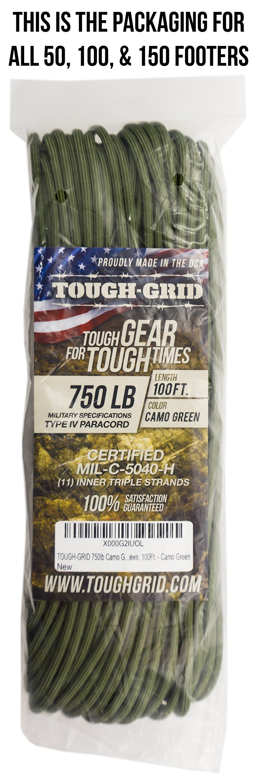 TOUGH-GRID 750lb Camo Green Paracord/Parachute Cord - Genuine Mil Spec Type IV 750lb Paracord Used by The US Military (MIl-C-5040-H) - 100% Nylon - Made in The USA. 50Ft. - Camo Green by TOUGH-GRID (Image #5)