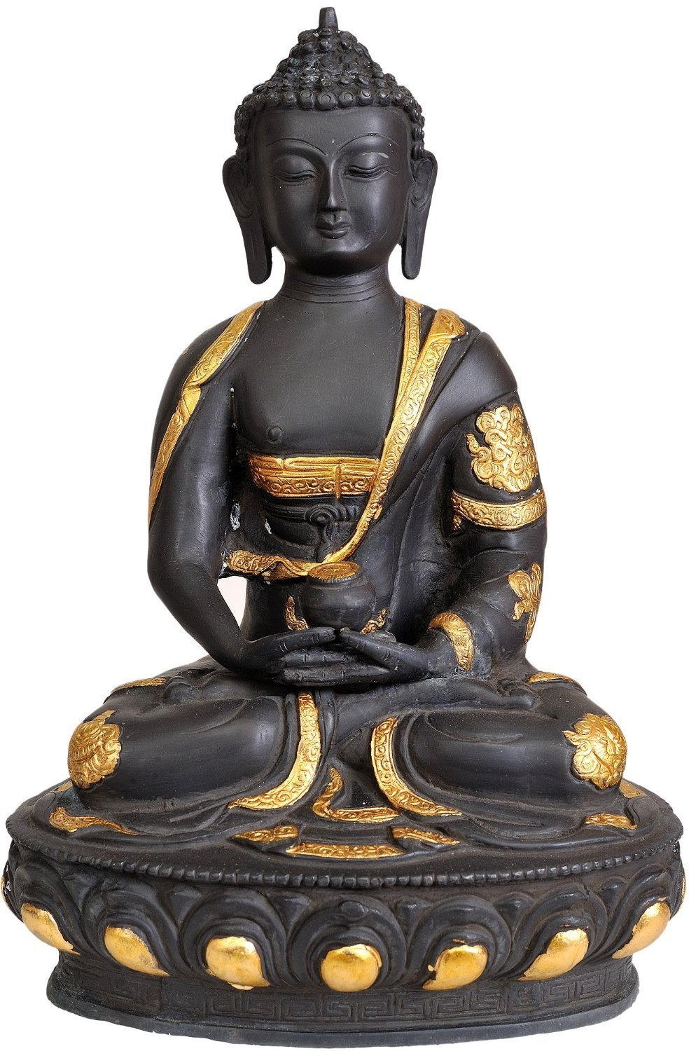 CraftVatika Brass Buddha Statue in Dhyani Meditating Pose -Thai Buddhism Peace Harmony Antique Sculptures by CraftVatika