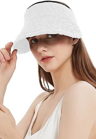 Giolshon Sombrero para el Sol para Mujer Paja de ala Ancha Enrollable Plegable UV UPF 50+ Gorra de Verano para Playa Visera Tejida
