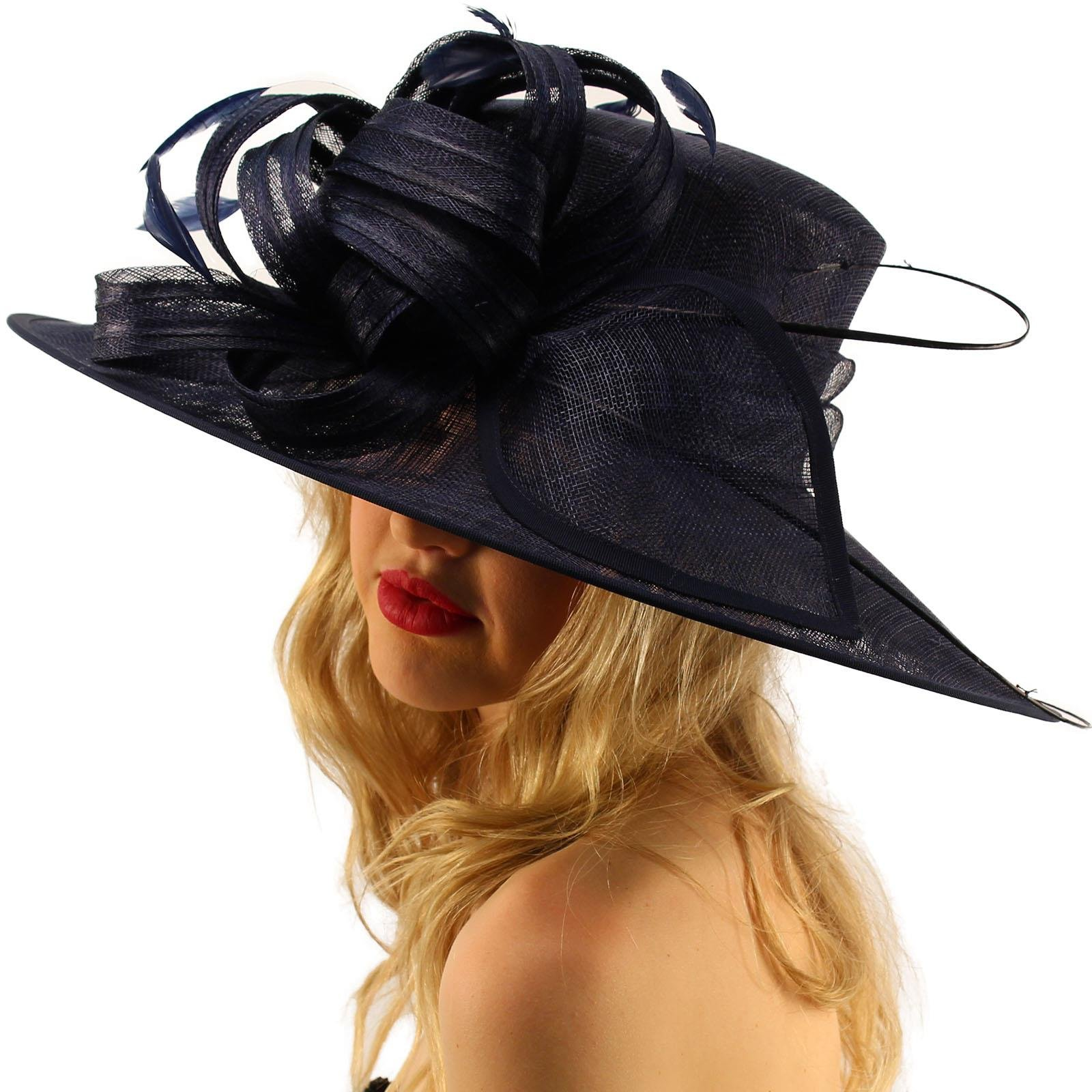 British Regal Sinamy Ribbon Feathers Quill Derby Floppy Bucket Dressy Hat Navy by SK Hat shop (Image #1)