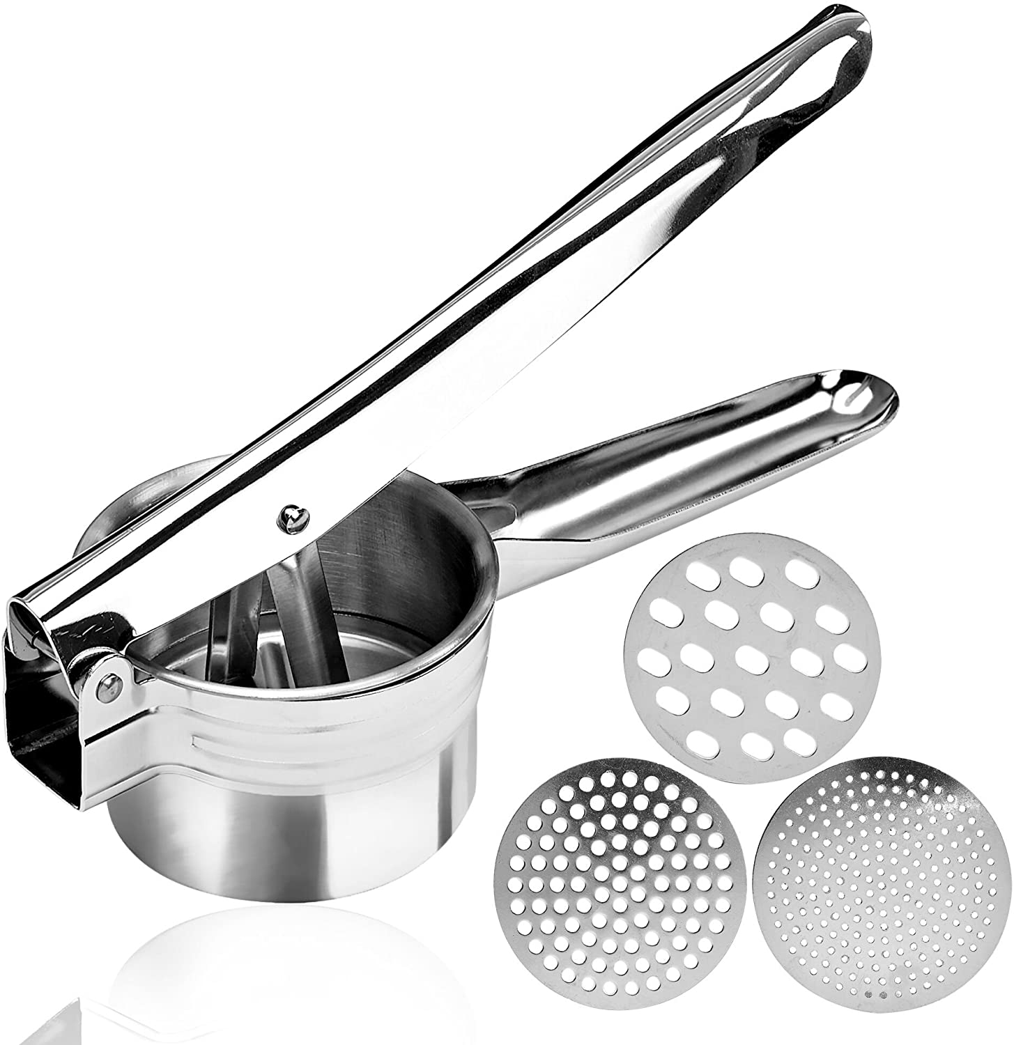 Manual Masher for Fluffy Mashed Potatoes Fruits and More- 3 Interchangeable Discs for super Fine Vegetables Medium Stainless Steel Potato Ricer with Ultra Sharp Vegetable Peeler and Coarse