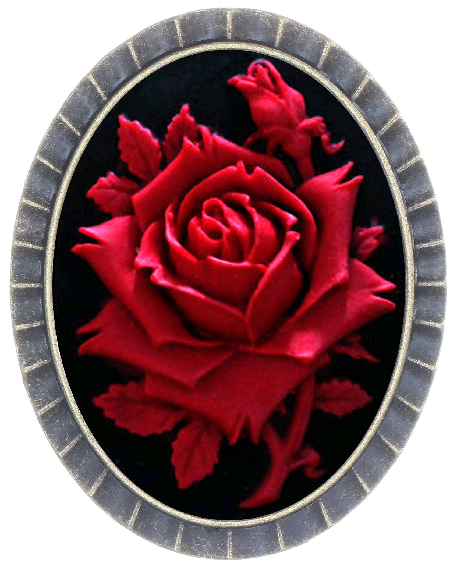 Fashion Brooch Birthday Gift Cleopatra Style Radial Shape Cameo Jewelry (Rose)
