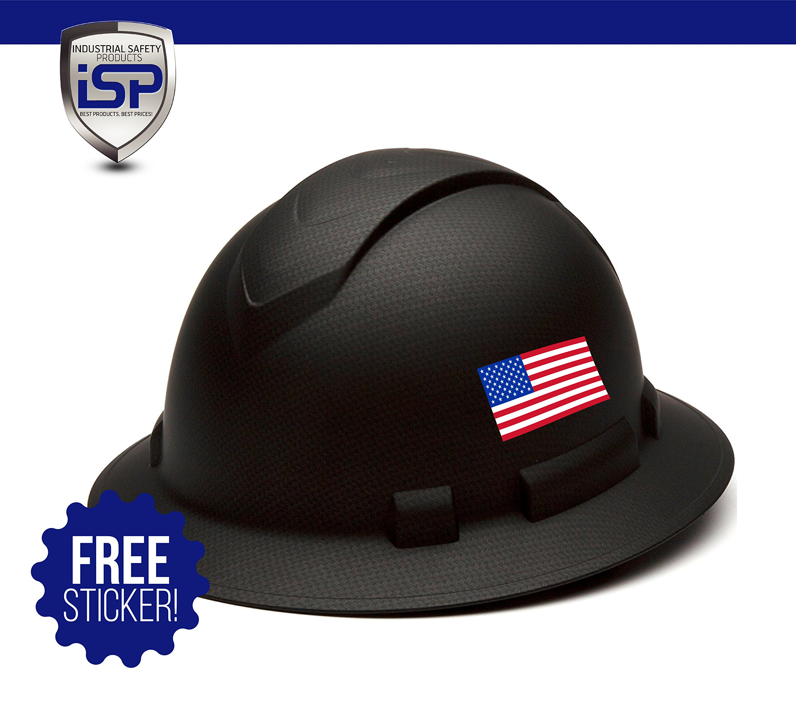 Pyramex Full Brim RIDGELINE Patterned Hard Hat with 6 Point Ratchet Suspension - Free Sticker Included