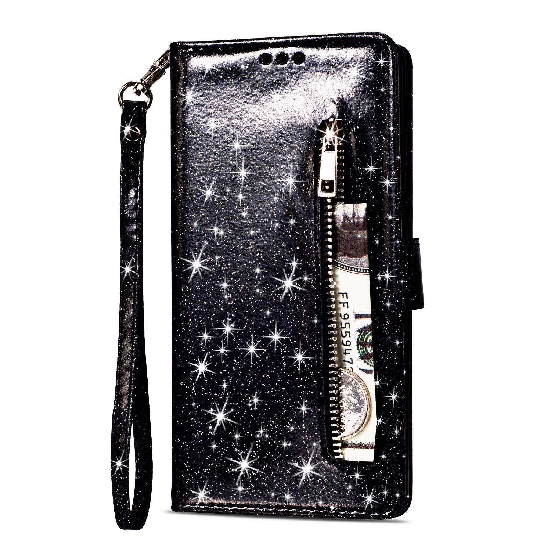 Huawei P20 Silber Handyh/ülle Bling Slim Rei/ßverschluss Leder Schutzh/ülle Flipcase mit Kartenfach und Handschlaufe Stand-Funktion Yobby Glitzer Brieftasche H/ülle f/ür Huawei P20