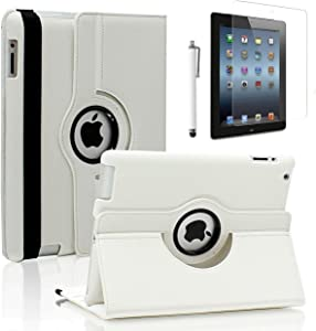 Zeox New iPad 9.7 inch 2017 / iPad Air Case - 360 Degree Rotating PU Leather Stand Protective Cover with Smart Auto Wake/Sleep for Apple New iPad 9.7 inch 2017/ iPad Air, White