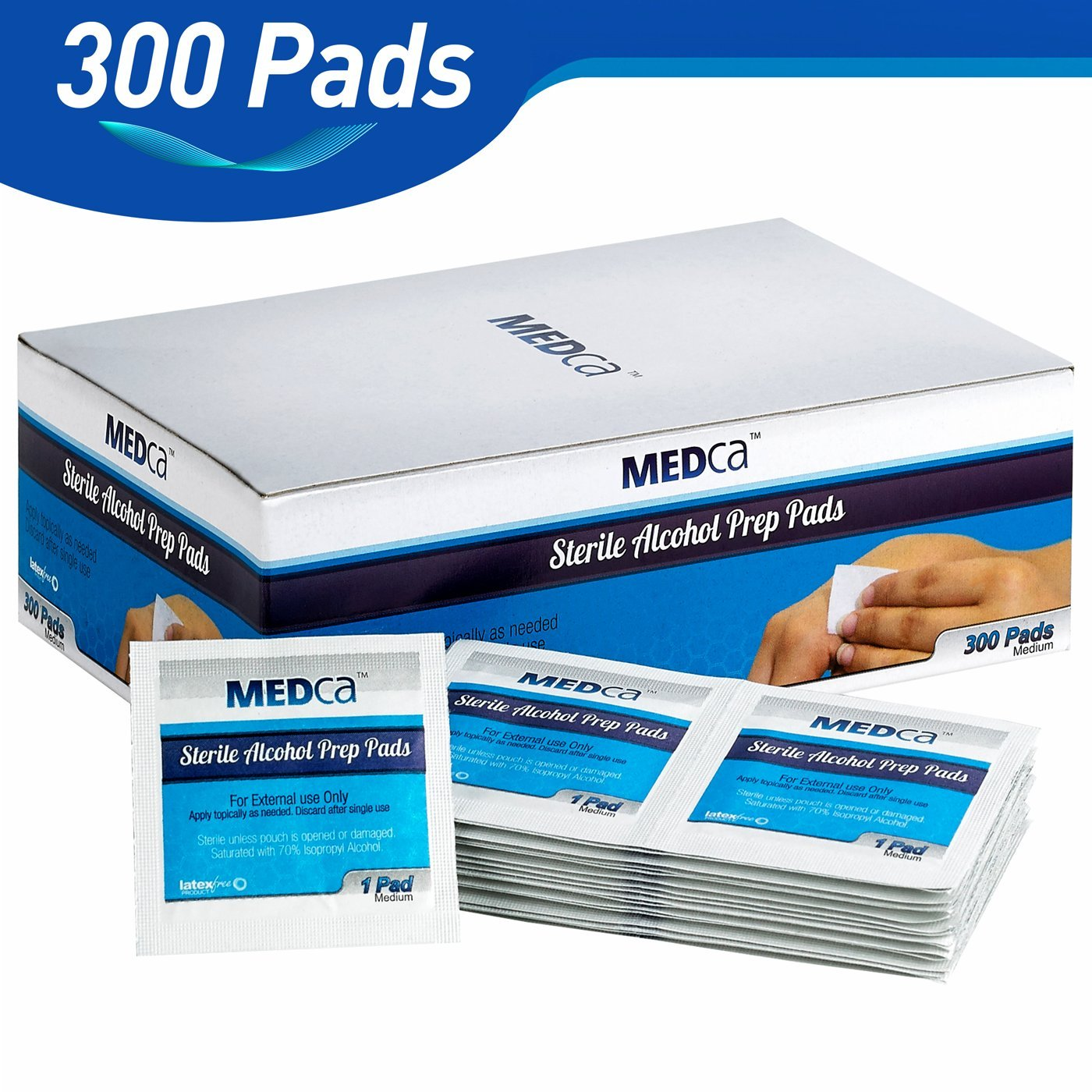 MEDca Alcohol Prep Pads, Sterile, Medium, 2-Ply (PACK OF 300
