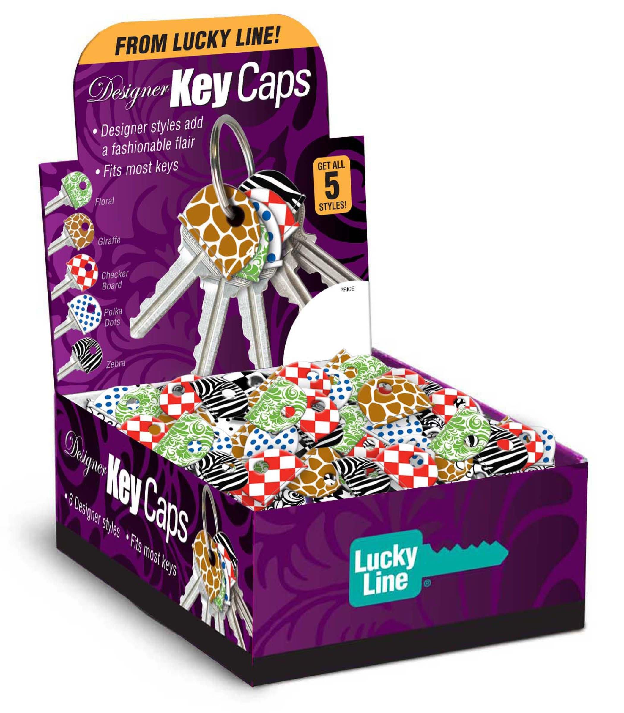 Lucky Line Designer key Caps, Box of 200 Assorted Designs (16300)