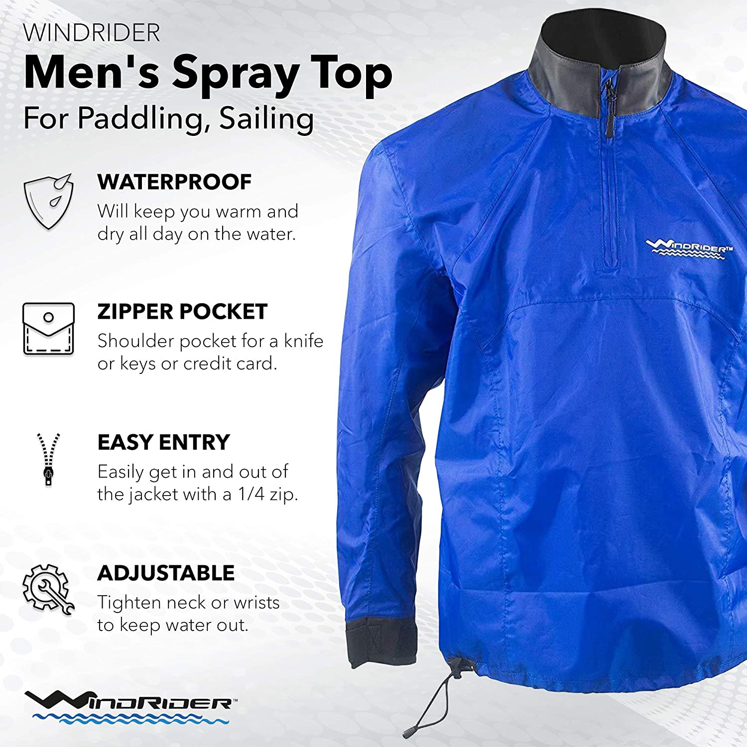 WindRider Waterproof Paddling Sailing Spray Top | Neck and Wrist Seals | Front Zipper | Shoulder Pocket: Clothing